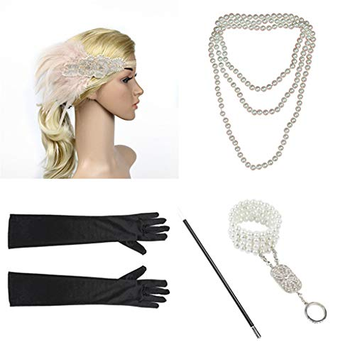 1920s Flapper Accessories Set Costume Headband Necklace Gloves Cigarette Holder Women,Pink