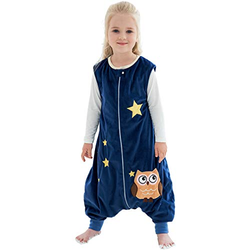 MICHLEY Baby Sleeping Bag Sack with Feet Spring Winter Swaddle Wearable Blanket Sleeveless Nightgowns for Infant Toddler, 1-2T, Dark Blue Owl