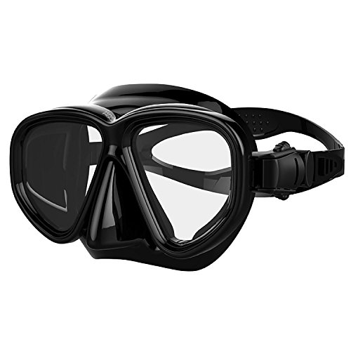 Kraken Aquatics Snorkel Dive Mask with Silicone Skirt and Strap for Scuba Diving, Snorkeling and Freediving | Black - Deep See Adventure Mask