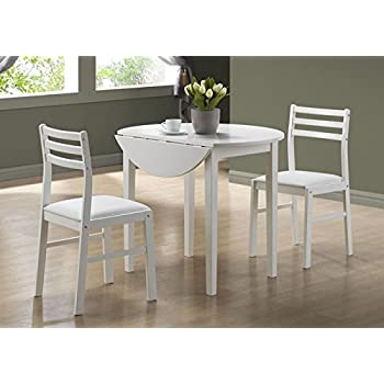 Monarch Specialties 3-Piece Dining Set with a 36-Inch Diameter Drop Leaf Table, White