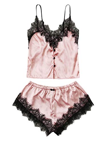 WDIRARA Women's Lace Trim Satin Sleepwear V Neck Cami Top and Shorts Pajama Set Pink XL