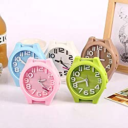 Cute Colorful Round Shape Mini Quartz Desktop Plastic Needle Alarm Clock