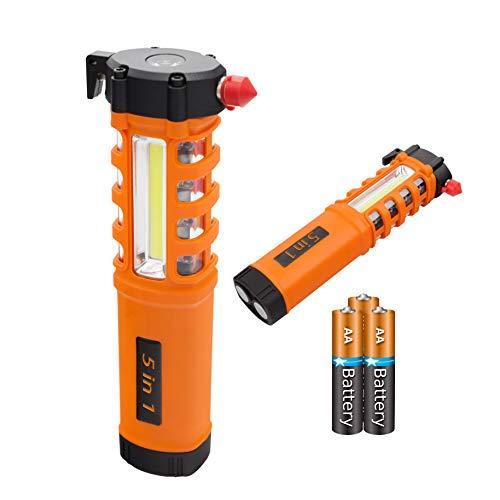 Multi-Function LED Work Light, Essential 5-in-1 Car Escape Tool, Life Saving Survival Kit: Seatbelt Cutter, Hammer Breaker, Worklight, Flashlight, Hazard SOS, Magnetic Base (Batteries Included)