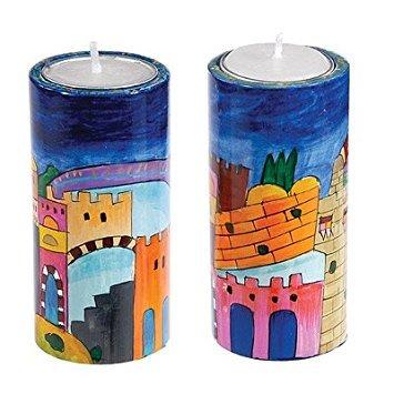 Shabbat Candlesticks Holders - Jewish Set - Yair Emanuel ROUND SHABBAT CANDLESTICKS JERUSALEM (LARGE) (Bundle)