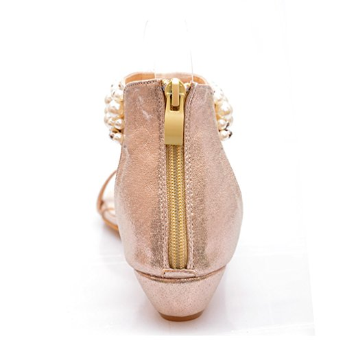 Abby 2356-3 Womens New Stylish Comfort Low Heel Bohemian Exquisite Manmade Gem Colorful Bead Exotic Non-Skid Thong Flip Flops Fresh Flats Zip PU Sandals Gold jqwWjtLx