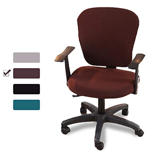 CAVEEN Stretch Office Computer Chair Covers Universal Protective Seat Cover Removable Washable Anti-dust Chair Slipcover 2-Pack Brown