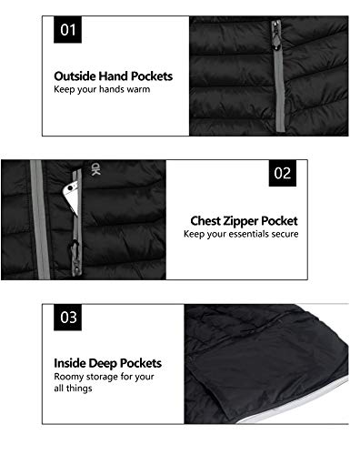 Little Donkey Andy Men's Packable Lightweight Puffer Jacket Hooded Windproof Winter Coat with Recycled Insulation