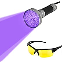 Blacklight Flashlight, 100 LED Ultra Violet UV Flashlight Handheld Blacklight Stain Detector with UV Safety Goggles to Spot Scorpions, Bed Bugs, Bodily Urine, Car Freon Leaks