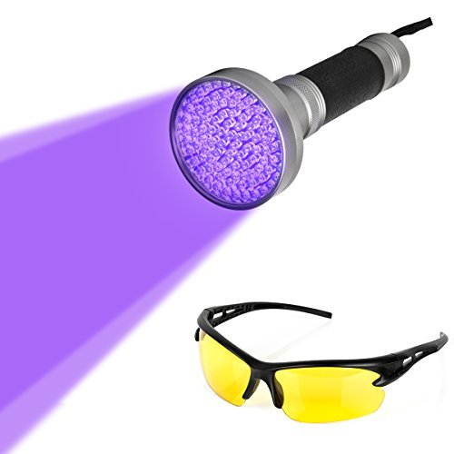 Led Torch Beam (Blacklight Flashlight, 100 LED Ultra Violet UV Flashlight Handheld Blacklight Stain Detector with UV Safety Goggles to Spot Scorpions, Bed Bugs, Bodily Urine, Car Freon Leaks)