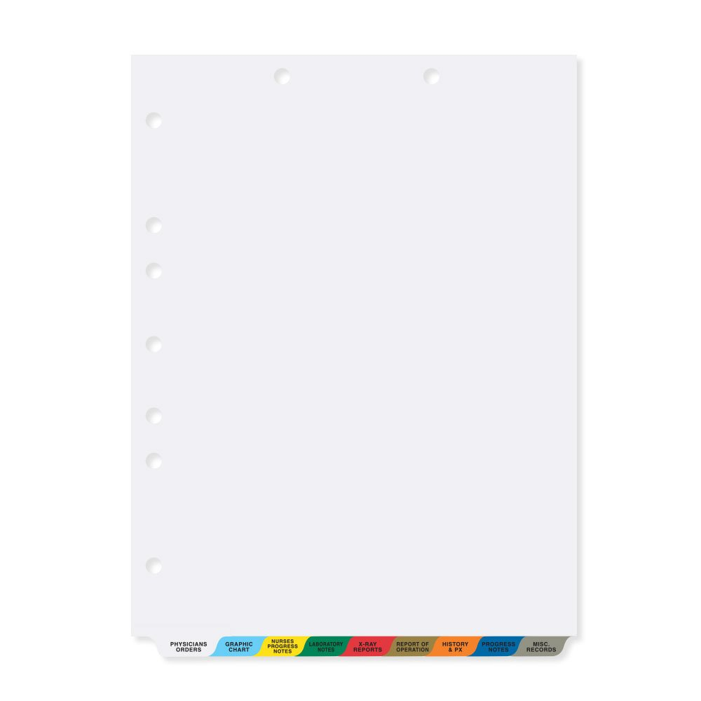 PDC Healthcare CDP2 Chart Divider, Poly, Bottom Tab Position, #1-9, 1/9 Cut, 9 Titles/Acute Care, 8 1/2'' x 11'', Assorted Colors