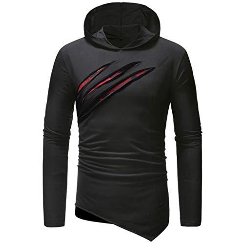 camicetta shirt casual Aimee7 lunga T Felpe slim puro manica uomo nero da colore qxfwvxZ