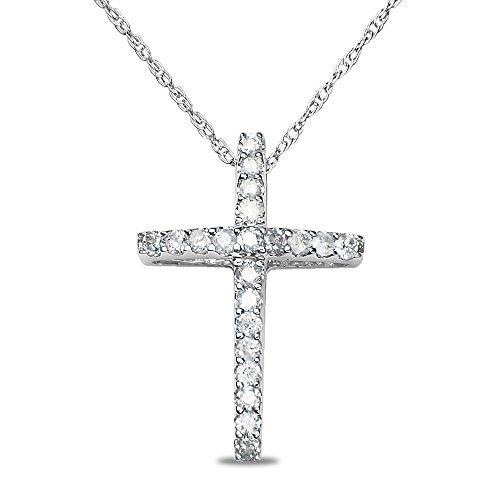 1/4CT Diamond Cross Pendant in 10k White Gold by Nissoni Jewelry