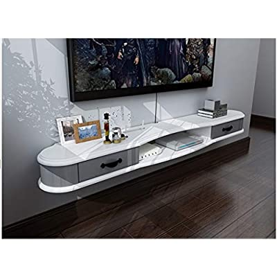 YYHSND Wall Cabinet Wall Background Storage Shelf Open Shelf DVD Satellite Box With Drawers  Cable Box Floating Shelf Wall Mount Shelf  Color White gray  Size 140cm