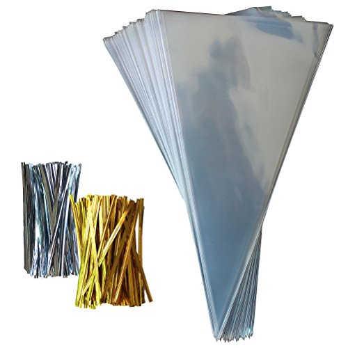100 PCS Cone Shaped Treat Bags Clear Cello Bags Candy Bags with 100 Twist Ties for Sweets, Crafts, 11.8'' x (Cone Shaped Cello Bags)