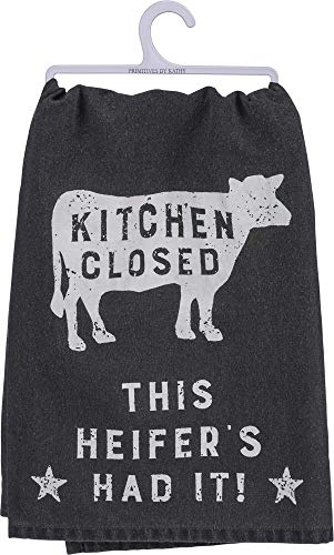 Primitives by Kathy Black and White Cotton Dish Towel, Kitchen Closed - This Heifer Has Had It (Cow Kitchen Towels)
