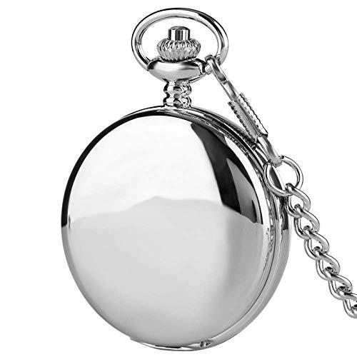 YGB Vintage fickur för män kvinnor, enkel design dubbel full mekanisk fickur steampunk kedja klockor presentklocka