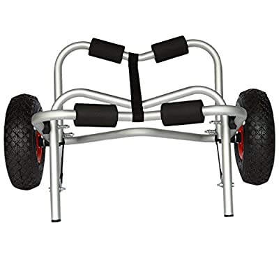 Universal Alloy Kayak Cart Boat Carrier for Kayak Canoes Gear Dolly Cart Trailer Carrier Tote Trolley Transport Solid Tires Wheel Foldable 165Lbs 75Kg Load Capacity Aluminum