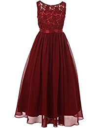 22bd4072a99 Big Girls Burgundy Satin Sash 3D Lace Chiffon Junior Bridesmaid Dress 8-16