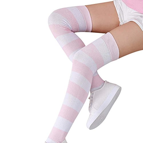 To Knit Arm How Warmers - Vovotrade Women Girl Over Knee Leg Warmer Striped Soft Cotton Socks (C)