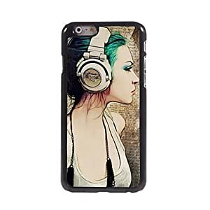 ZL Girl with Earphone Pattern Aluminum Hard Case for iPhone 6 Plus