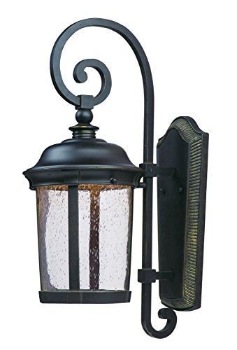 Maxim 55024CDBZ Dover LED Outdoor Wall Lantern, Bronze Finish, Seedy Glass, LED Bulb , 40W Max., Wet Safety Rating, Standard Dimmable, Glass Shade Material, 2016 Rated Lumens - Bronze Dover Wall Lantern