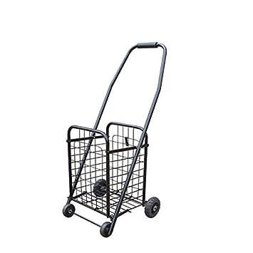 NYDZDM Carro de Compras Plegable clásico, Carrito de supermercado con Cuatro Ruedas (Color : Negro): Amazon.es: Hogar