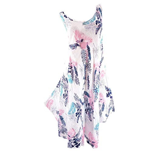 WEISUN Women Sleeveless Dress Summer Printing Evening Party Mini Club Dress Plus Size Beach Shirt Dress Sale Today White