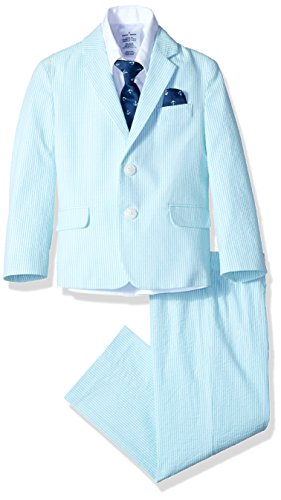 Nautica Boys' 4-Piece Suit Set with Dress Shirt, Tie, Jacket, and Pants, Florida Green Seersucker, ()