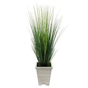 House of Silk Flowers Artificial 4ft PVC Grass in Washed Wood Planter (White-Washed) 1