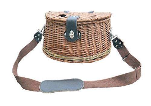 Flying Fishing Creel (Baskets Wicker With Leather Shopping Handles)