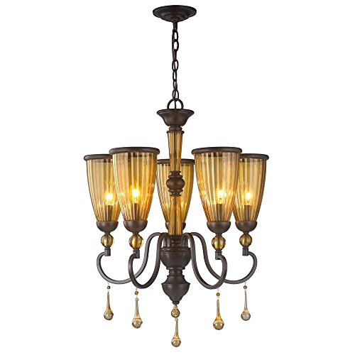 World Imports Lighting  61023 Amber Marie 5-Light Oil Rubbed Bronze Chandelier with Crystal Adorned Tea Stained Glass Shade