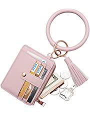 COOLANS Round Circle Wristlet KeyChain Tassel Bracelet Bangle Keyring Holder For Women Girl