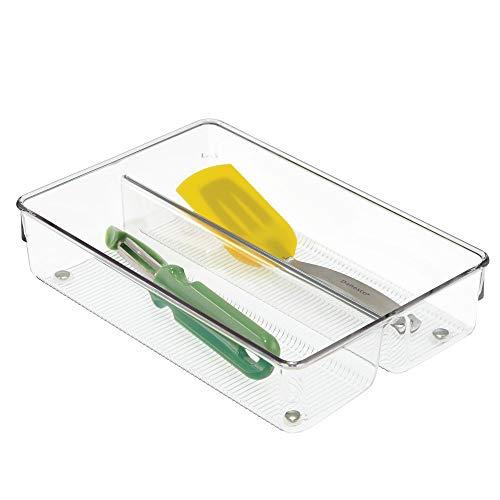 InterDesign Linus Organizador de cajones, cubertero para cajones de cocina grande en plástico para cubiertos y otros...