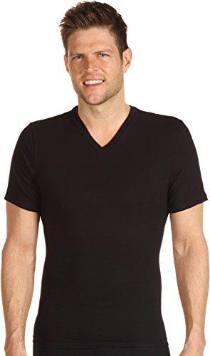 (SPANX for Men Men's Cotton Compression V-Neck, Black XL (46-48))