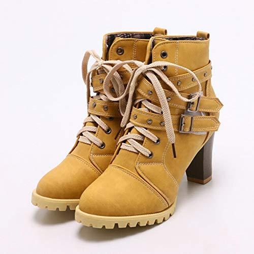 Chaussures Ceinture Bottines Boucle Loisirs Boots Femme Et Avec De Jaune Rivet Weant Epais Courtes Bottes Haut zGSVUpqM