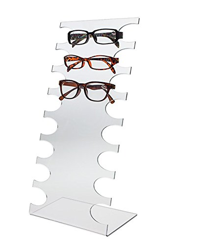 Source One Deluxe Tier Clear Acrylic Sunglasses Eyeglasses Display Stand Holder (1 Pack, 8 ()