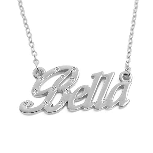 Zacria Name Necklace Bella - 18K White Gold Plated