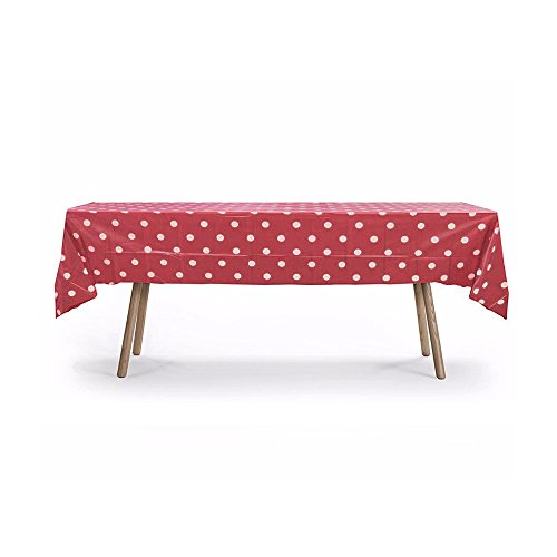 10 Packs of Polka Dot Table Cover, Plastic Rectangular Pool Patio Party Disposal Table Cover (Red)