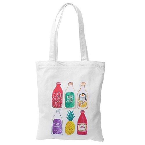 eDealMax Femmes Voyage shopping en toile de jus de fruits Imprimer Fermeture  glissire Craft Cosmetic livre sac fourre-tout blanc