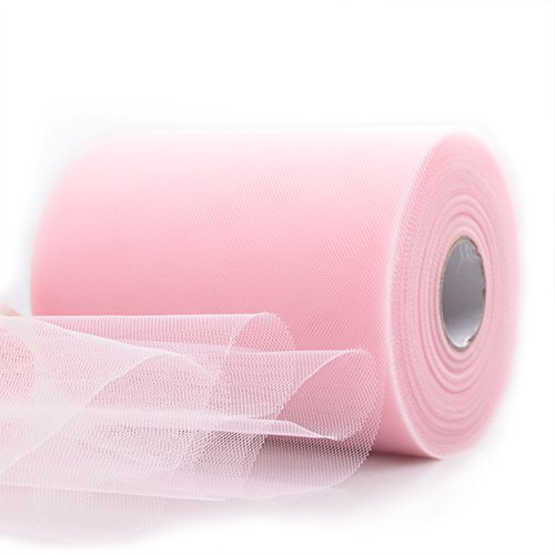 Pink Ribbon Wrap (SROOD Tulle Fabric Bolt Tulle Ribbon Roll 6 inch x 100 yards 300 Feet for Tulle Table Skirt Wedding Party Decorations, Easy Gift Wrapping for the Holiday(Blush Pink))