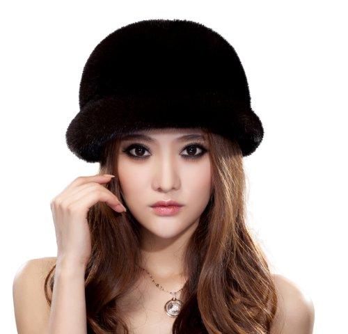 URSFUR Women's Mink Fur Cloche Hats Mink Fur Beret SD77 (Brown Natural Color)