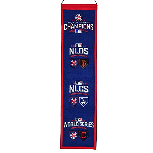 Chicago Cubs 2016 World Series Officially Licensed 8x32 Embroidered Wool MLB Heritage (10 Photograph World Series)