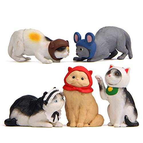 MASCARE 5pcs Cat Figurines Realistic Fairy Garden Miniature Animals Figurines Cake Topper Resin Playset