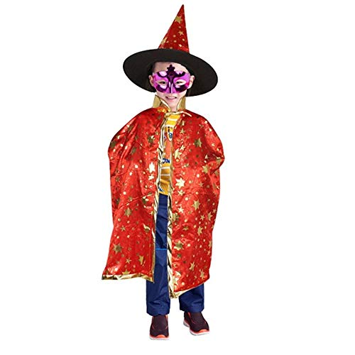 Bubble-Princess - Boy Girl Children Christmas Halloween cosplay party diy decoration Witch Wizard Cloak Gown Robe and Hat Cap Enchanter Stars for $<!--$21.99-->
