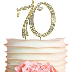 70 GOLD Cake Topper | Premium Sparkly Crystal Rhinestones | 70th Birthday or Anniversary Party Decoration Ideas | Perfect Keepsake (70 Gold)