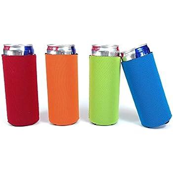 Slim Can Beer Insulators Premium Neoprene Beverage Cooler Assorted Colors, 4 Pack