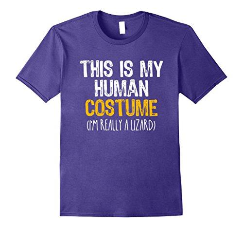Purple Lizard Costume (Mens This Is My Human Costume Lizard Halloween Funny T-shirt Medium Purple)