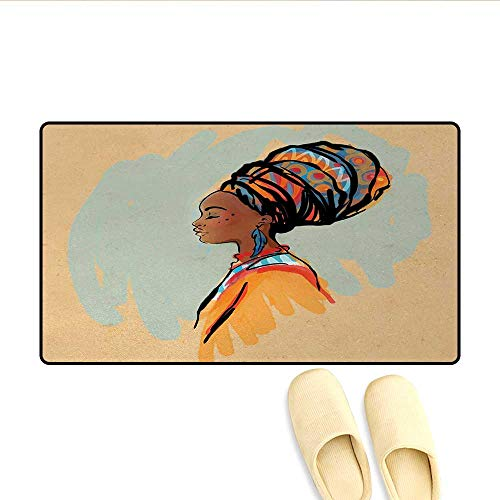Doormat,Watercolor Profile Portrait of Native Woman with Ethnic Hairdo and Earrings,Floor Mat Bath Mat for Tub,Multicolor,Size:20