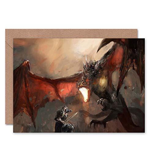 Wee Blue Coo Dragon FIRE Breathing Knight Battle Blank Greetings Birthday Card Art