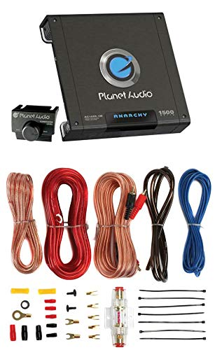 PLANET AUDIO AC1500.1M 1500W MONO Car Audio Amplifier Amp AC15001M+8 Ga Amp Kit